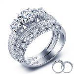 Vintage Style Victorian Art Deco 1.5 Ct Created Solid <b>Sterling</b> 925 <b>Silver</b> 2-Pcs Wedding Engagement <b>Ring</b> Set YR0005