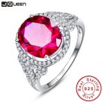 JQUEEN Vintage for Women Fine Gem 6.5Ct Oval Pigeon Blood Red Ruby <b>Ring</b> Cocktail Genuine Real Pure Solid 925 <b>Sterling</b> <b>Silver</b>