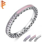BELAWANG 100% 925 <b>Sterling</b> <b>Silver</b> Radiant Hearts,Light Pink Enamel&CZ Crystal Finger <b>Rings</b> for Women Original Wedding Jewelry