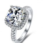 Classic 3 Carat Cushion Cut SONA Synthetic Diamond Solitaire Engagement <b>Ring</b> for women in <b>sterling</b> 925 pure solid <b>silver</b> (BB)