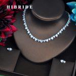 HIBRIDE Luxury Love Heart Shape Clear CZ Dubai <b>Jewelry</b> Sets For Women Necklace Set Wedding Dress <b>Accessories</b> Party Show N-470