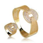 Dazz Luxury Wedding Bangle Ring Set Three Tones Plated Full Zircons <b>Jewelry</b> Sets Women Lovers Party Gifts Hand <b>Accessories</b>