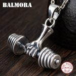 BALMORA 925 Sterling Silver Weightlifting Design Pendants for Men Vintage Silver <b>Jewelry</b> <b>Accessories</b> Without a Chain SY14273