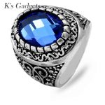 K's Gadgets Blue Oval With Stone Rings Women <b>Jewelry</b> Luxury Women <b>Jewelry</b> Tibet Silver Color Vintage <b>Antique</b> Big Ring Anello
