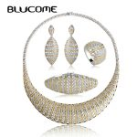 Blucome Luxurious Wedding <b>Jewelry</b> Sets Cubic Zircon Choker Necklace Earrings Ring Bracelet Set For Bridal Women <b>Accessories</b> Gift