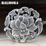 BALMORA 100% Real 990 Pure Silver <b>Jewelry</b> Vintage Peony Flower Hollow Pendants Women Mothers' Gift <b>Accessories</b> Bijoux SY10731