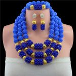 2017 New Nigerian Wedding <b>Jewelry</b> Sets Indian Bride <b>Accessories</b> Gold-color Blue Color Necklace African Beads <b>Jewelry</b> Sets