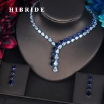 HIBRIDE Luxury Clear And Blue Water Drop <b>Jewelry</b> Sets For Women Necklace Set Wedding Dress <b>Accessories</b> Wholesale Price N-388