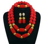 Red Color Necklace Set Gold-color Statement Necklace Earring Crystal Nigerian Women <b>Accessories</b> African Beads <b>Jewelry</b> Sets