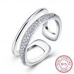 Hemiston Luxury <b>Antique</b> 100% 925 Sterling Silver Simplicity Two Layers Zircon Resizable Rings for Women <b>Jewelry</b> SVR249-8