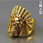JHNBY high quality fashion Gold-color rings hiphop Indian skull head ring bijouterie <b>accessories</b> men <b>jewelry</b> 2017