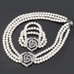 Cute Rose Flower Simulated Pearl Beads Sets Clear Rhinestone Necklace Bracelet <b>Jewelry</b> Sets For Women Wedding <b>Accessories</b> S614