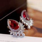Fashion Luxury Gorgeous Water Drop Shape Big Red Cubic Zirconia Stone Stud Earrings Women Party <b>Jewelry</b> Wedding <b>Accessories</b>