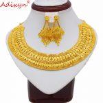 Adixyn Flexible Necklace Earrings Set <b>Jewelry</b> Women Girls Gold Color Romantic Arab/Ethiopian/African Wedding <b>Accessories</b> N04259