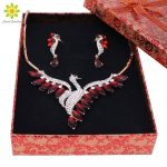 Nigeria Beaded Gold Color <b>Jewelry</b> Sets For Women Crystal Peacock Pendant Necklace Earrings Party Wedding <b>Accessories</b>+Gift Boxes