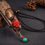 <b>Antique</b> Bronze Leaves Big Red Flower Braided Rope Necklace Colorful Carnelian Beads Pendant Necklace China Ethnic Women <b>Jewelry</b>