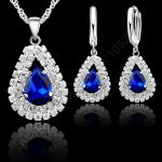 JEXXI <b>Jewelry</b> Sets Blue 925 Sterling Silver Crystal Pendant Necklace 18″ Chain Hoop Earring Lever Back Women Gift <b>Accessories</b>