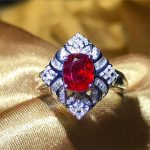 wholesale trendy luxury red ruby natural gemstone engagement wedding ring 18k gold <b>jewelry</b> for women