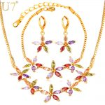 U7 Luxury Cubic Zirconia <b>Jewelry</b> Set For Women Wedding <b>Accessories</b> Colorful Star Bracelet Earrings Necklace Sets For Brides S768