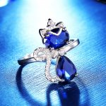 BELLA 925 Sterling Silver Queen Cat Cocktail Ring Lovely Animal Blue Cubic Zircon Ring For Women <b>Accessory</b> Party <b>Jewelry</b> Gift
