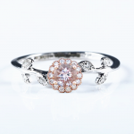 Solid 14k Rose Gold Solid 14k White Gold Natural Diamonds Engagement Ring Leaf Romantic Fine <b>Jewelry</b> <b>Art</b> <b>Deco</b> Unique