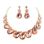Youfir Fashion Wedding Party peach color <b>Jewelry</b> Sets Women Indian Bridal Statement Necklace&Earrings <b>Accessory</b> Love Gifts