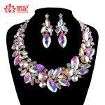 Fashion rhinestone AB color Wedding <b>Jewelry</b> Sets bridal Crystal necklace earrings set women Party marquise <b>Jewelry</b> <b>Accessories</b>