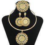 2018 Fashion Dubai Women Gold Coin Design African Bridal <b>Jewelry</b> Sets Gold Crystal Necklace Bracelet wedding <b>Jewelry</b> <b>Accessories</b>