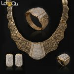 Indian Dubai Bridal Gold-color <b>Jewelry</b> Sets Fashion Crystal Wedding <b>Accessories</b> Necklace Earring Set bijoux women