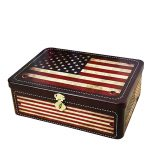 European Style Retro American Flag Tin Storage Box with lock <b>Jewelry</b> Boxes Home Decor