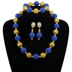 Fine <b>Jewelry</b> Sets Women Wedding Plated Gold 10 Colors Crystal Dress <b>Accessories</b> Blue African Beads Necklace Earrings Set