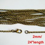100piece lot <b>antique</b> bronze 2mm 24 inches link curb chain necklace for pendant <b>jewelry</b> accessories CCN010