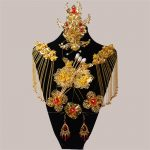 Chinese Style Classical Red Crystal Bridal <b>Jewelry</b> Sets Headdress Hair <b>Accessories</b> Imitation Pearl Gold Color Wedding Earrings