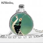 Hot Glass Dome <b>Jewelry</b> <b>Art</b> <b>Deco</b> <b>Jewelry</b> Woman on White Peacock Green Peacock Necklace <b>Art</b> Glass Dome Pendant Necklace HZ1