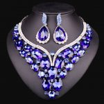New Luxury Gold Color Blue Crystal Dubai Bridal <b>Jewelry</b> Set For Brides Necklace Earring Wedding Party <b>Accessories</b> For Women