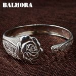 BALMORA 990 Pure Silver Vintage Flower Open Bangles for Women Mother Lover Gift about 18cm Bracelet <b>Jewelry</b> <b>Accessories</b> WBH0107