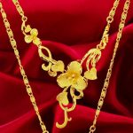 Wedding Golden Flower Shaped Pendant Necklace Chain Gold Filled Womens <b>Accessories</b> Gift Beautifl Romantic <b>Jewelry</b>