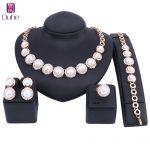 Trendy Women Big Simulated Pearl Crystal <b>Jewelry</b> Sets Wedding Party Dress <b>Accessories</b> Bridal Statement Choker Necklace Set