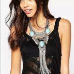 <b>Antique</b> Long Tassel Statement Necklace women Vintage Green Stone Necklaces & Pendants Boho <b>Jewelry</b> Multi layer Necklaces Women