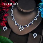 HIBRIDE New Arrival Blue CZ Sotne Women <b>Jewelry</b> Sets Pendant Set Dress <b>Accessories</b> Brilliant <b>Jewelry</b> Necklace Set For Gift N-585