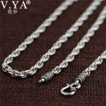 V.YA Vintage 925 Sterling Silver Chain Necklaces For Men Male <b>Jewelry</b> 4mm Real Thai Silver Necklace Fine <b>Jewelry</b> <b>Accessories</b>