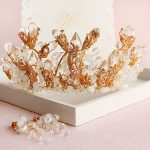 Bridal crown <b>jewelry</b> sets gold bridal earrings wedding hair <b>accessories</b> Baroque crowns crystal tiara big diadem