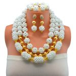 Trendy African Beads <b>Jewelry</b> Sets For Women Crystal Necklace Set Earrings White Color Pendant Wedding Dress <b>Accessories</b>