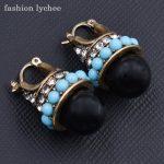 fashion lychee Vintage Design Geometric Rhinestone <b>Art</b> <b>Deco</b> Black Faux Pearl Crystal Stud Earrings Women Ear <b>Jewelry</b>