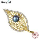 Personalized Gold Openwork Leaf Natural Pink Gray Black Pearl Brooch Pins For Women Fashion <b>Accessory</b> Gift 925 Silver <b>Jewelry</b>