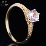 HELON <b>Art</b> <b>Deco</b> 6mm 0.72ct Pink Morganite Fine <b>Jewelry</b> Solid 10k Yellow Gold Anniversary Vintage Exquisite Women Engagement Ring