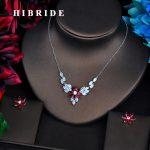 HIBRIDE Marquise Cut Pendents Clear Red Cubic Zircon Women Dubai Bridal <b>Jewelry</b> Sets Wedding Necklace <b>Accessories</b> Bijoux N-528