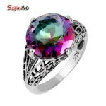 Szjinao Manufacturer Fashion <b>Antique</b> <b>Jewelry</b> Skull Mystic Rainbow Topaz 925 Sterling Silver Ring Women Who
