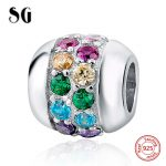 SG charms silver 925 original beads with color CZ Pendant <b>Antique</b> beads fit original pandora bracelet <b>jewelry</b> making gifts 2017