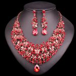 Fashion Butterfly Necklace Earring Sets Vintage Bridal <b>Jewelry</b> Sets Red Rhinestone Party Wedding Prom Costume <b>Accessories</b> Women